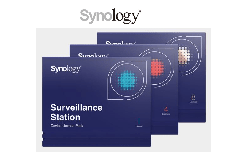 How many Surveillance Device License Pack come with Synology?