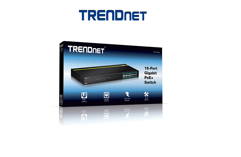 TRENDNET TPE-TG160G 16 x Gigabit PoE+(246 Watts )Switch